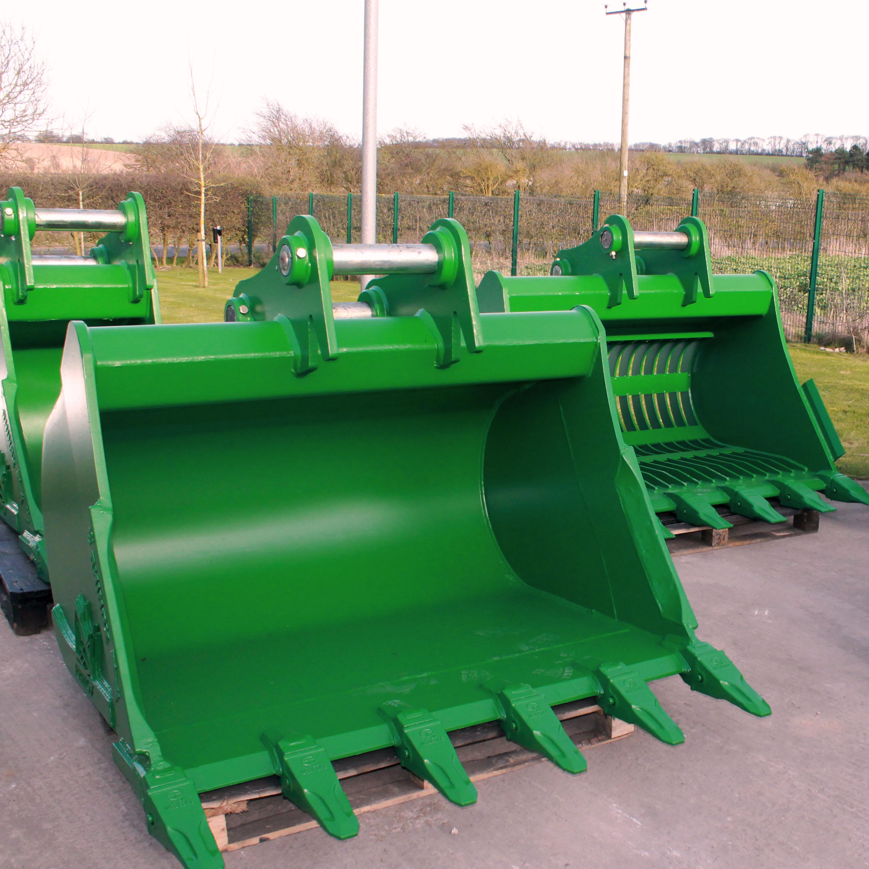Excavator Buckets custom painted green