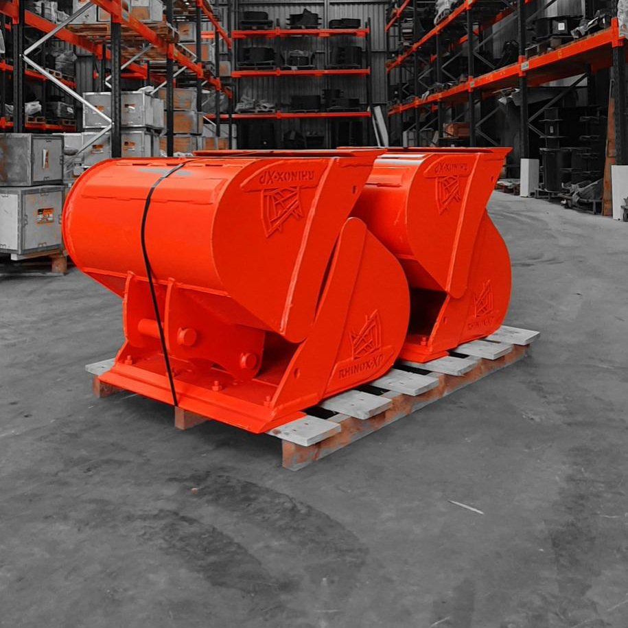Excavator Buckets custom painted orange