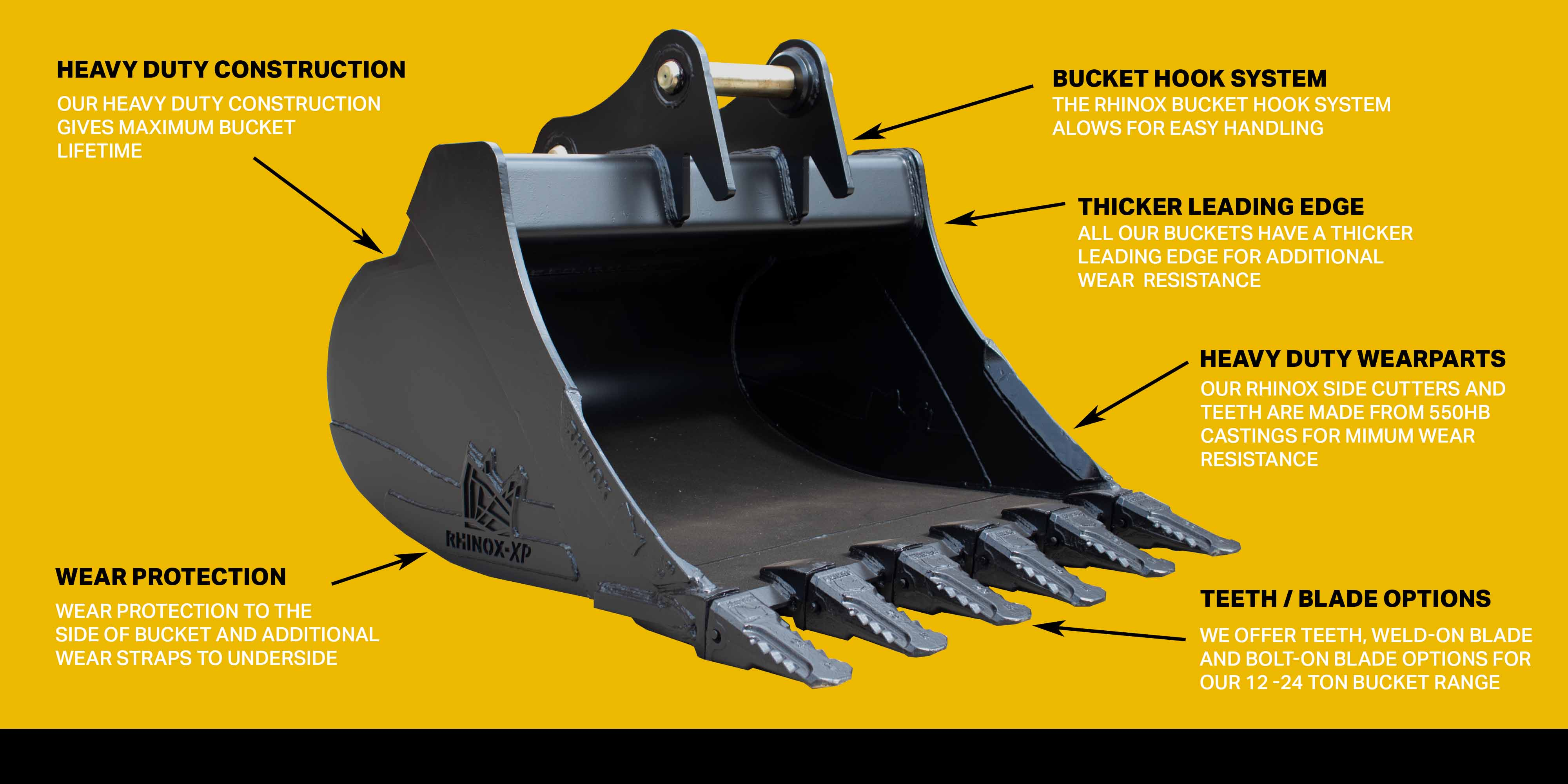 rhinox 12 - 25 ton bucket features